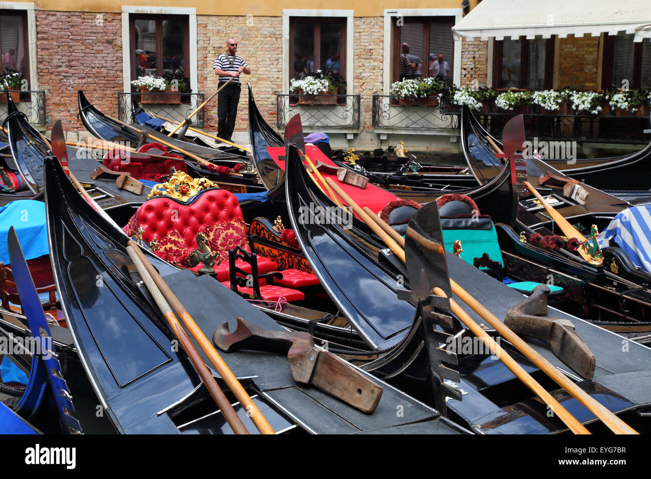 Gondola parking at Servizio Gondole Bacino Orseolo, Venice, Italy - Stock Image