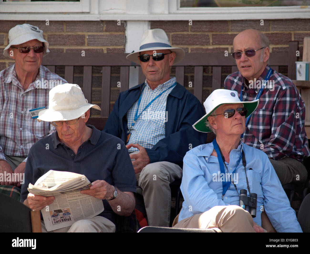 44093108 English cricket-lovers enjoy watching their game on a sunny day in West  Sussex