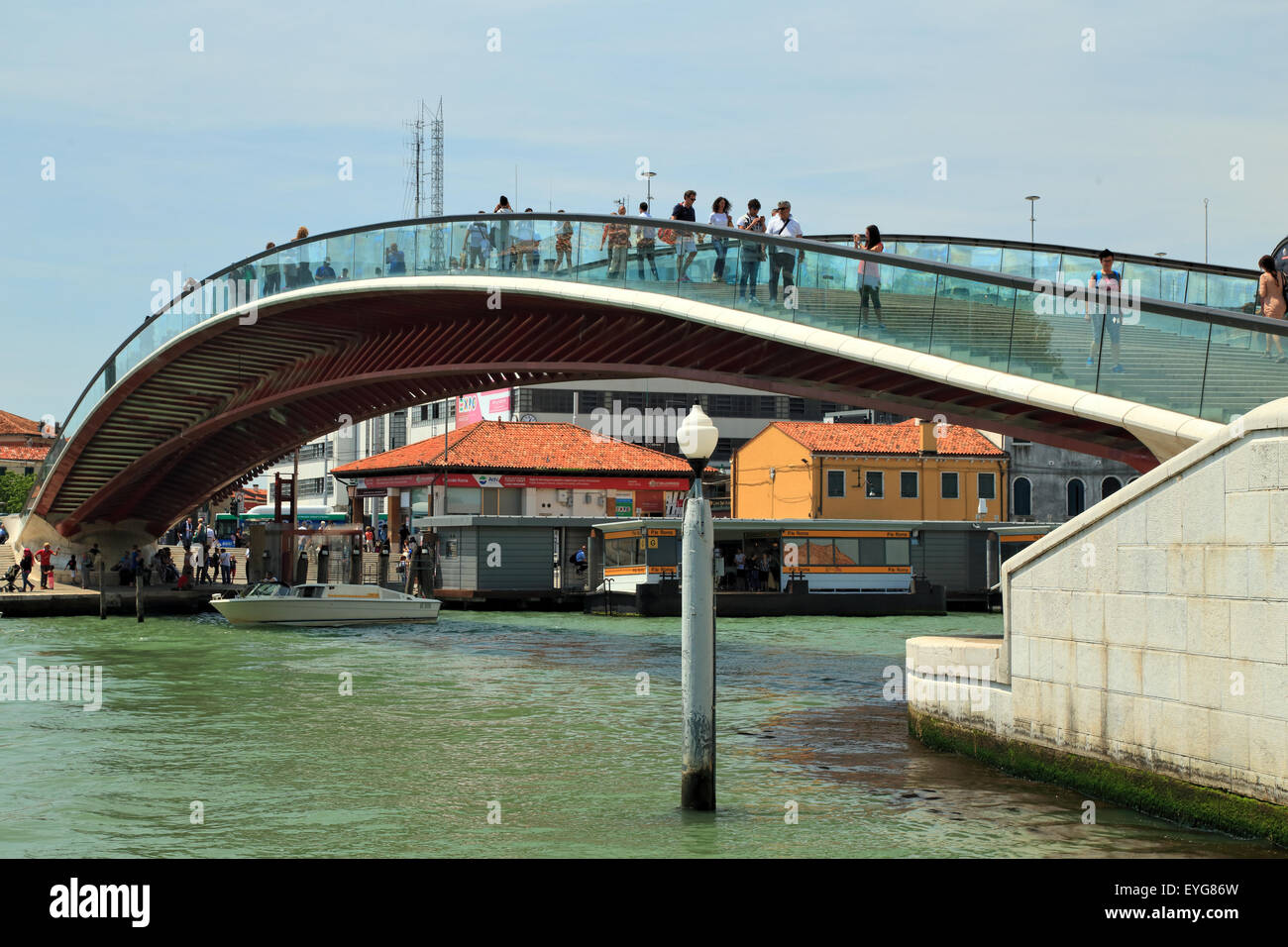 Ponte di Calatrava bridge -  Ponte della Costituzione - Constitution Bridge Stock Photo