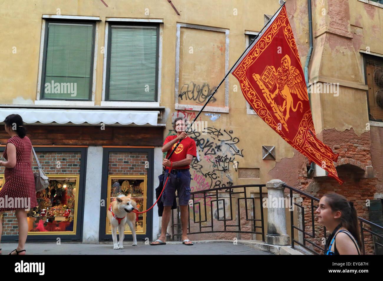 Patriotic Venetian at Republic Day (Festa della Repubblica) 2015 - Stock Image