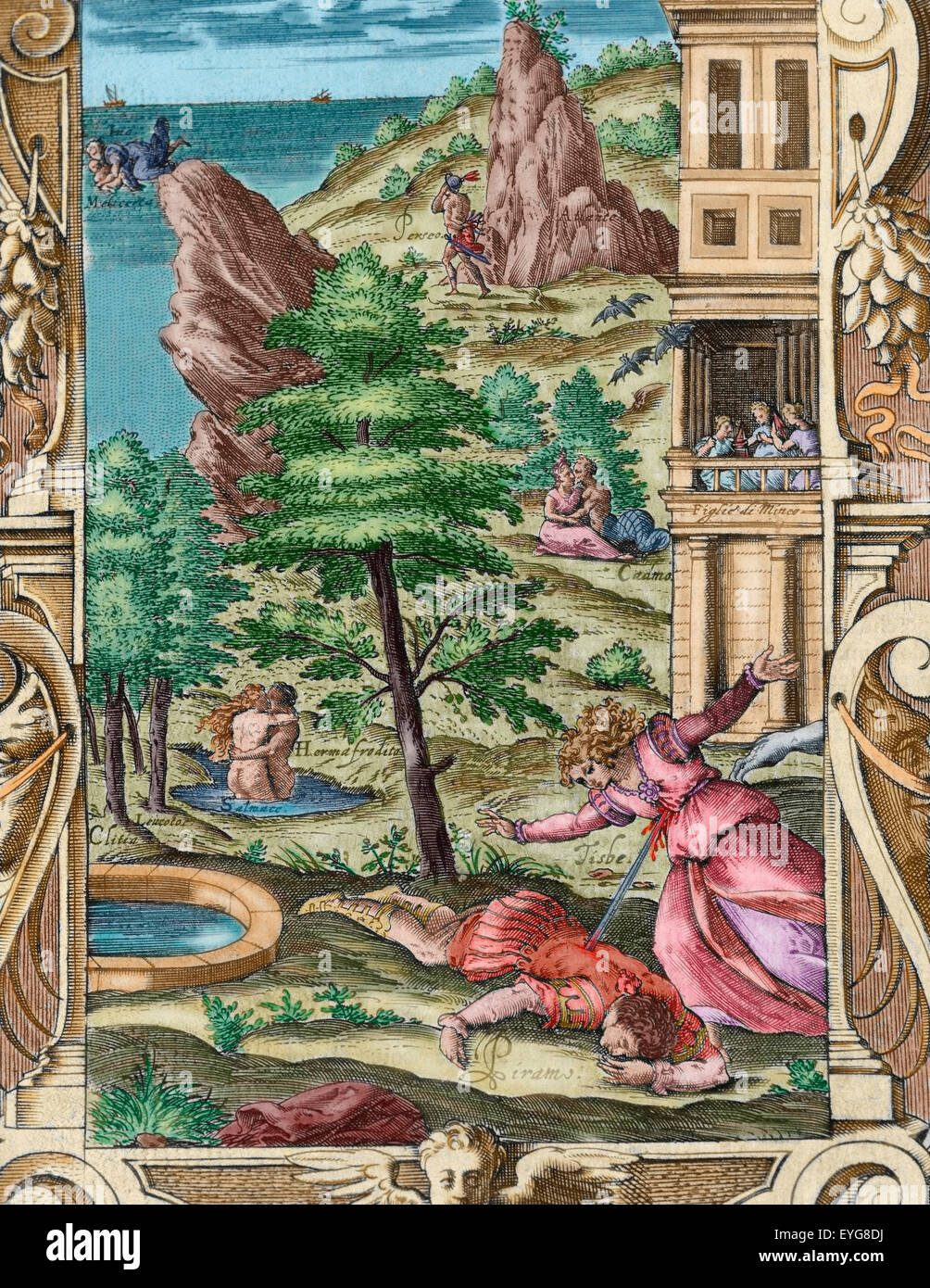 Ovid (Publius Ovidius Naso) (43 BC-17 AD). Latin poet. Metamorphoses 2-8 AD. Book IV. Engraving depicting the death of Pyramus and Thisbe. Italian edition. Venice, 1584. Colored. Stock Photo