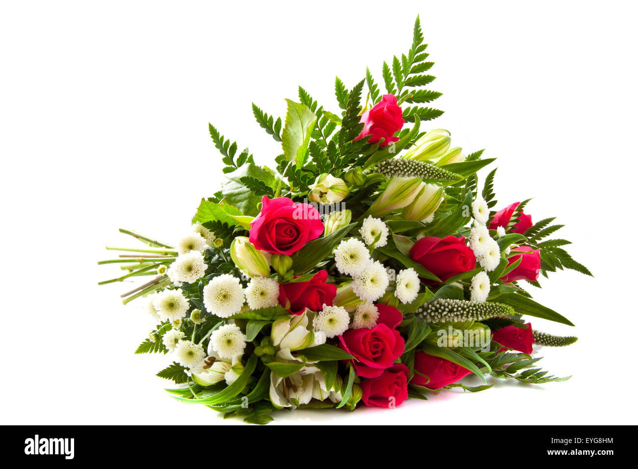 Funeral flowers white stock photos funeral flowers white stock beautiful bouquet with different kind of flowers over white stock image izmirmasajfo