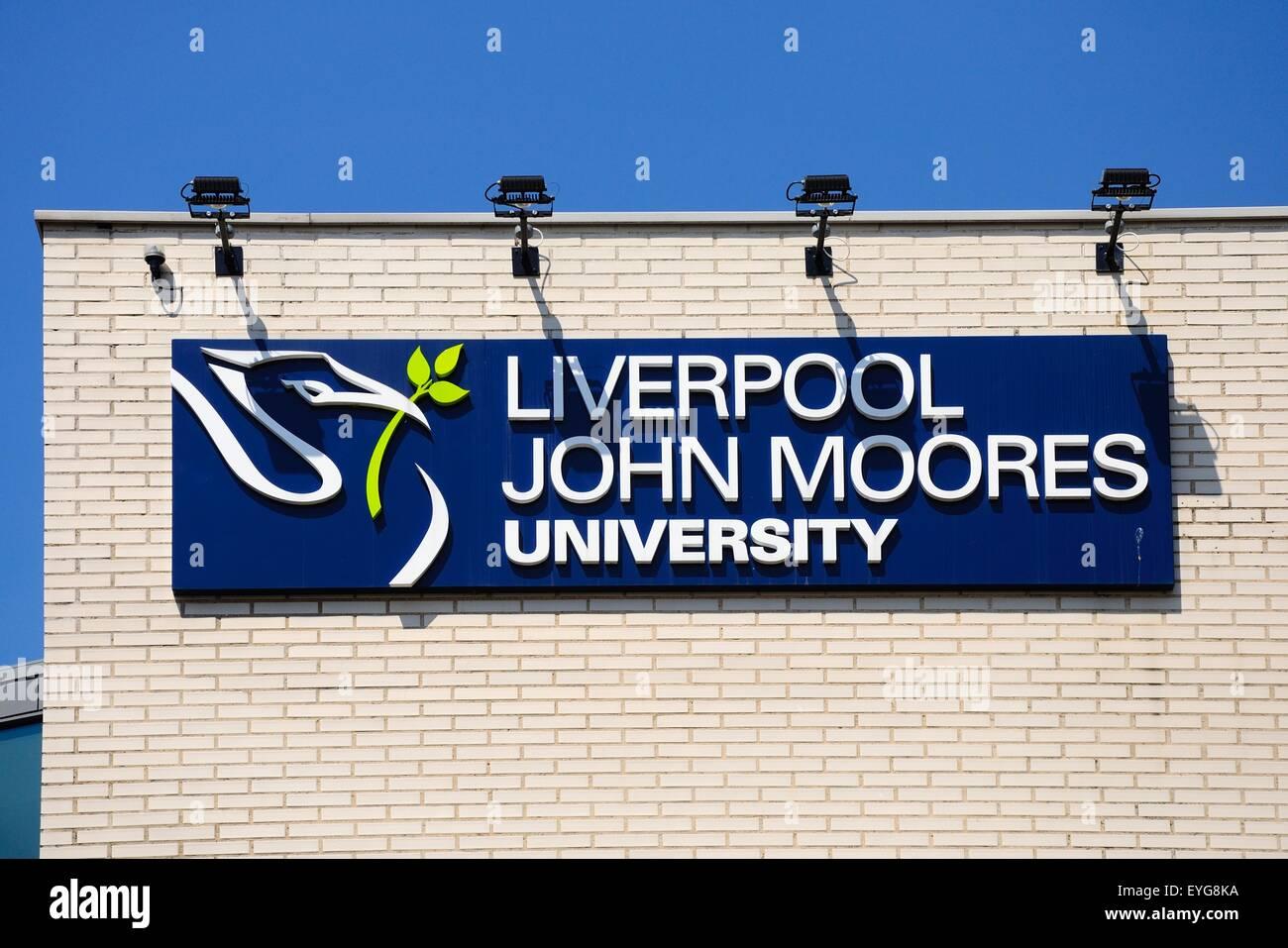 Liverpool John Moores University sign, Liverpool, Merseyside, England, UK, Western Europe. - Stock Image