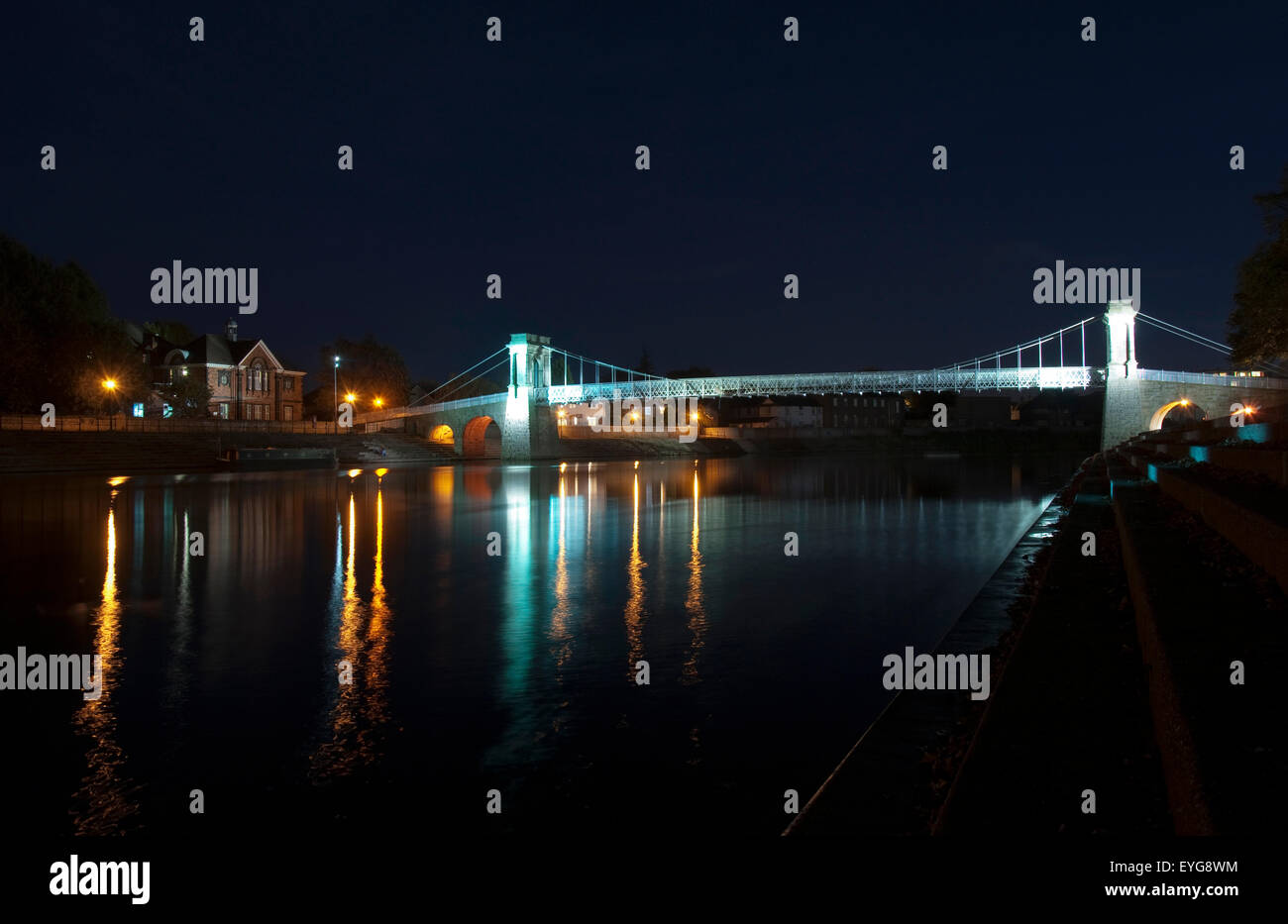 Darkness on the River Trent at Wilford Suspension Bridge, Nottingham England UK Stock Photo