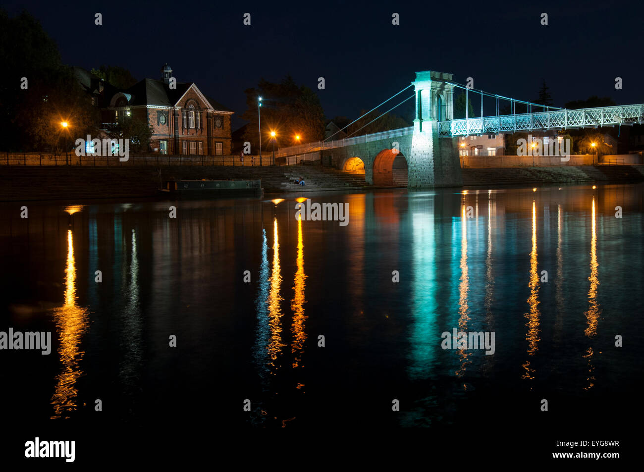Darkness on the River Trent at Wilford Suspension Bridge, Nottingham England UK - Stock Image