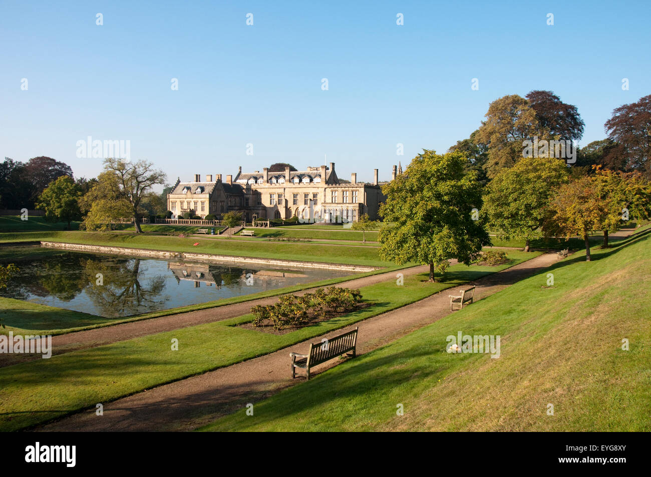 Gardens and Eagle Pond at Newstead Abbey, Nottinghamshire England UK - Stock Image