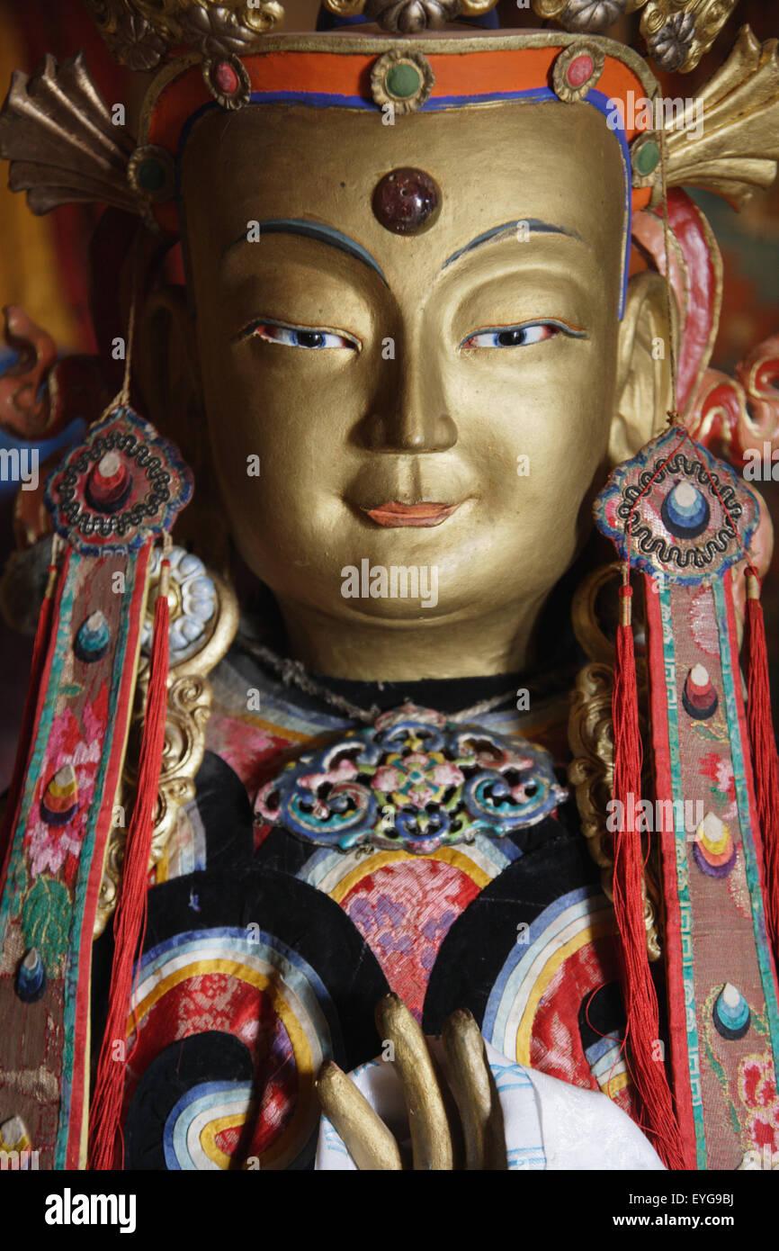 Mongolia, Erdene Zuu Monastery; Kharkhorin, Buddhist Statue Stock Photo