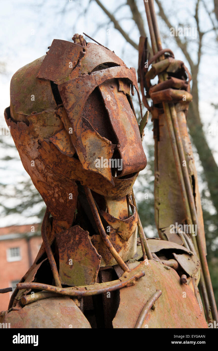 Metal sculpture outside the Ferrers Art Centre at Staunton Harold Hall in Leicestershire, England UK - Stock Image