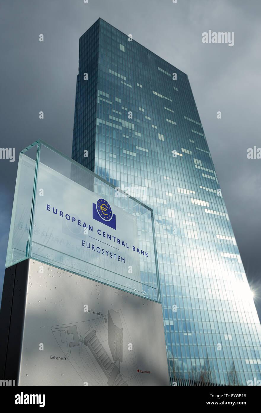 Frankfurt am Main, Germany, the logo of the ECB on a glass sheet - Stock Image