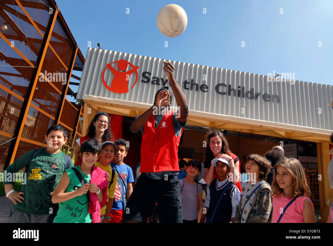 EXPO 2015 Pavilion of the NGO Save the Children. . The pavilion was attended by many students. Milan, Italy, May Stock Photo