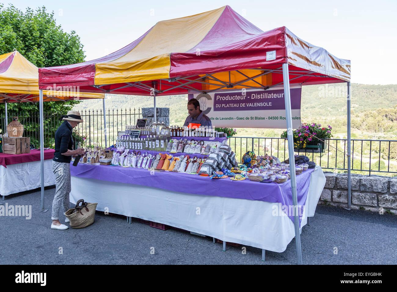 A Provence product stall on the Moustiers Sainte Marie market (France). Etal du marché Provençal de Moustiers Sainte Stock Photo