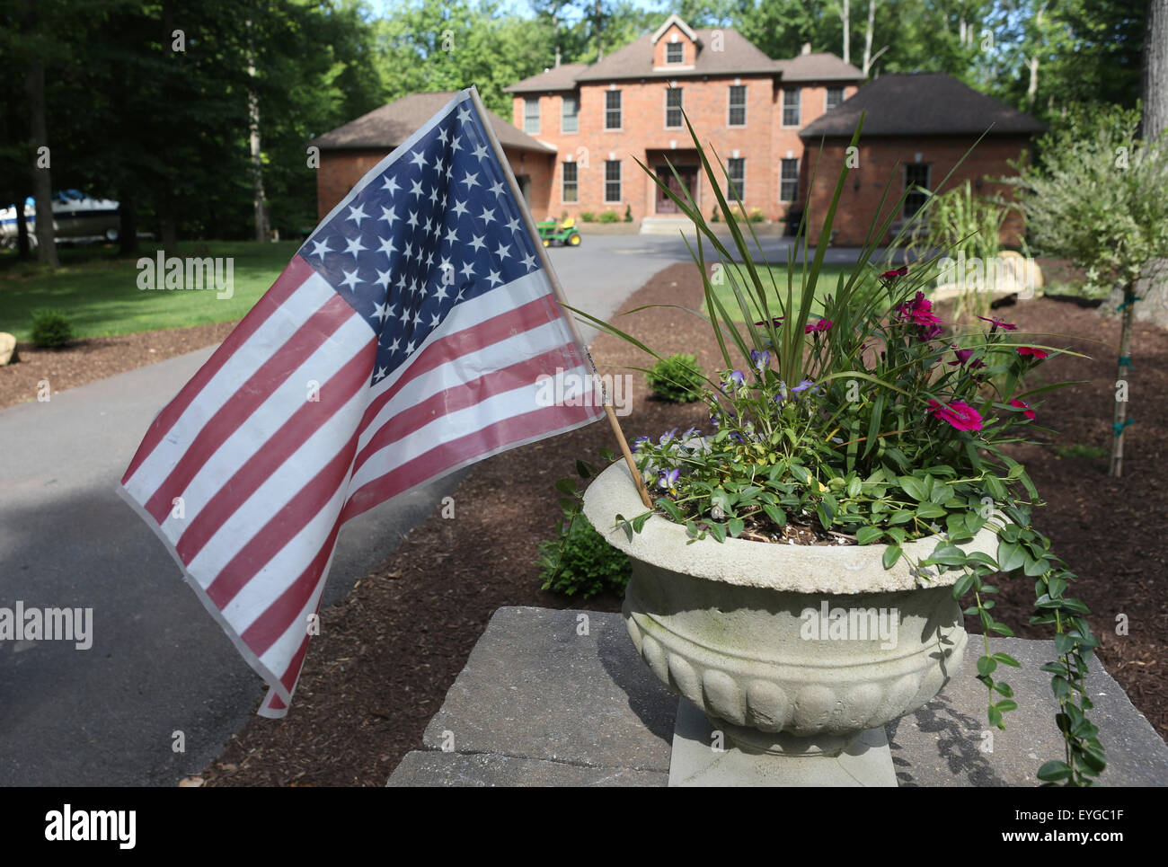 Du Bois, USA, National Flag of the USA in a flower pot Stock Photo