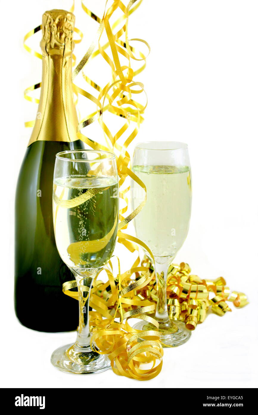 Champagne with Gold Streamers - Stock Image