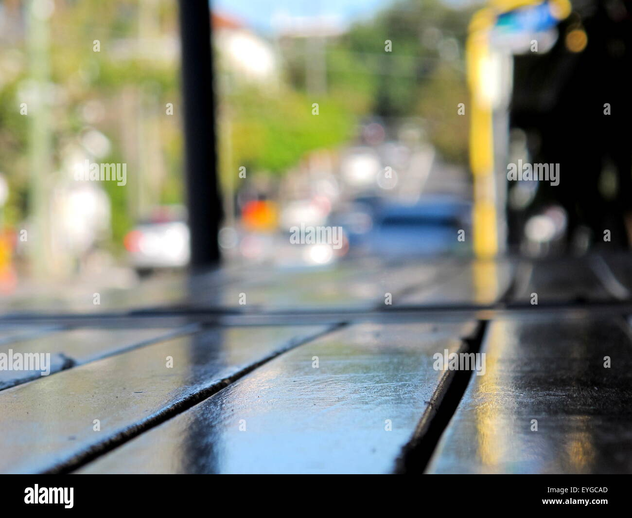 Soft Focus Street view across Table - Stock Image