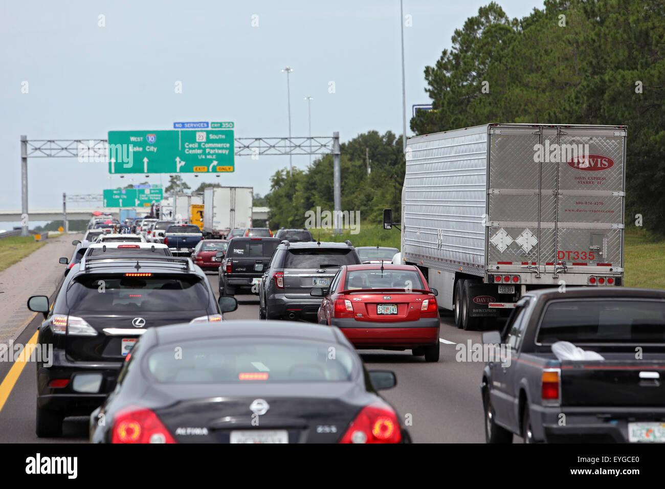 Lake City, United States, jam on the highway Stock Photo
