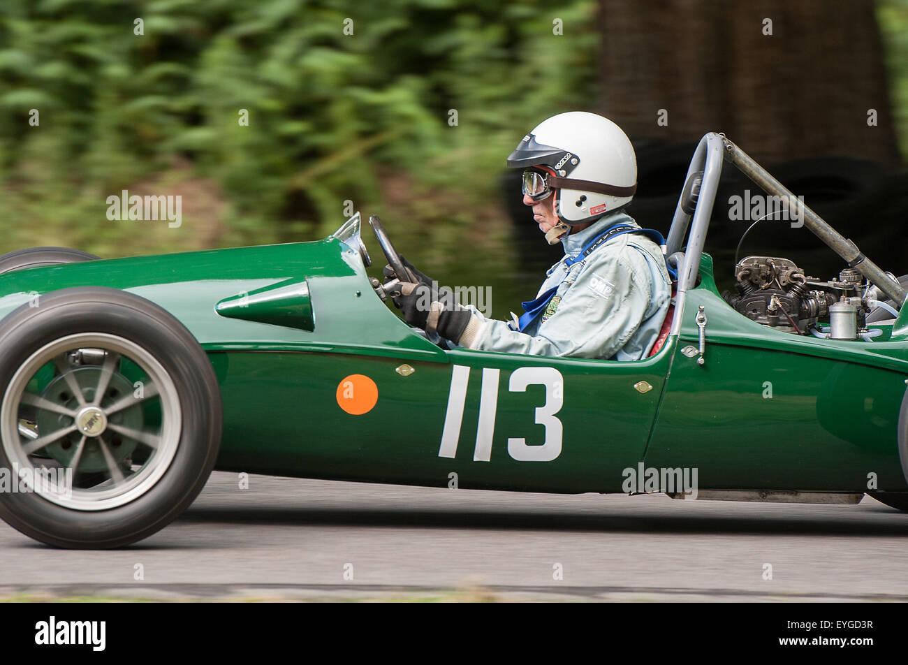 Historic Racing car at Loton Park Hillclimb - Stock Image