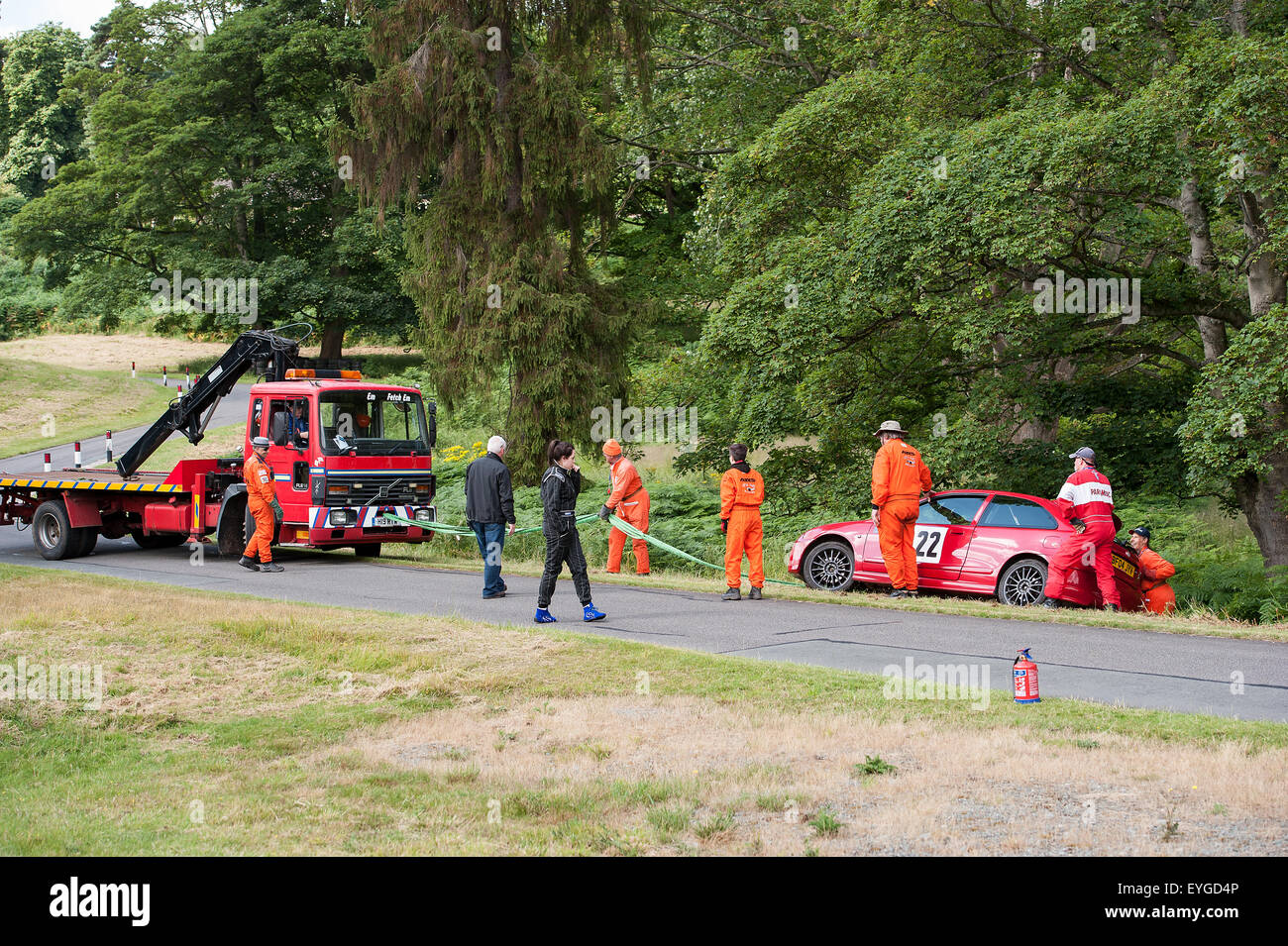 Motorsport accident hillclimb MG Rover - Stock Image
