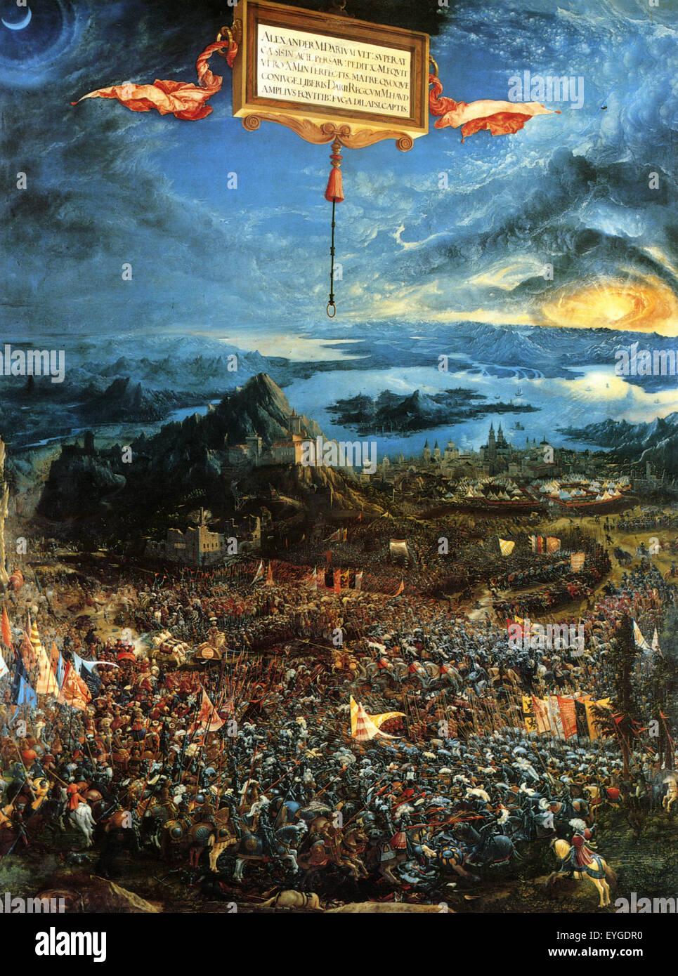 Albrecht Altdorfer - The Battle of Issus - XVI th century - Flemish - Stock Image