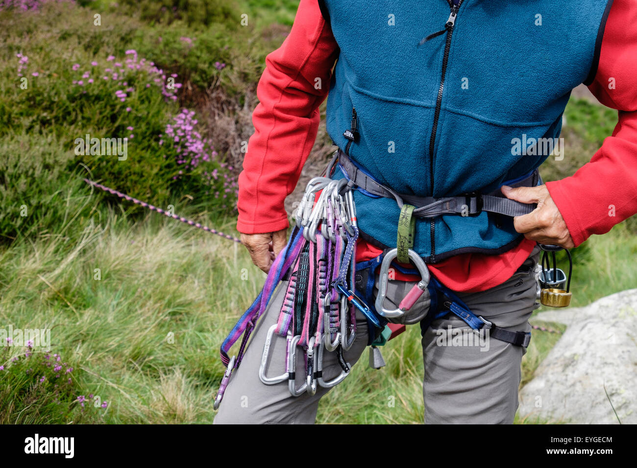 A rock climber ing a climbing harness with rack of runners and ...