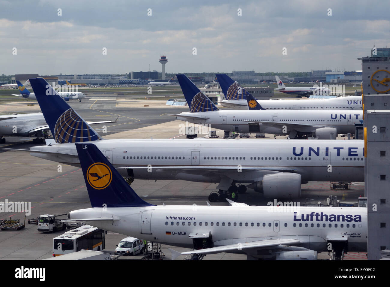 Frankfurt Am Main Germany Aircraft Operated By Lufthansa And United Stock Photo Alamy