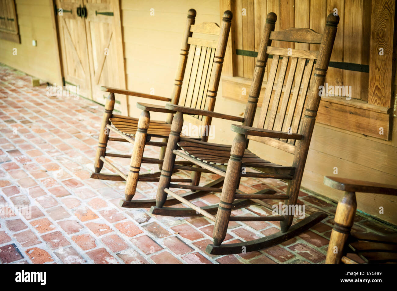 USA, Louisiana, Rocking Chairs In Oakley Plantation; Audubon State