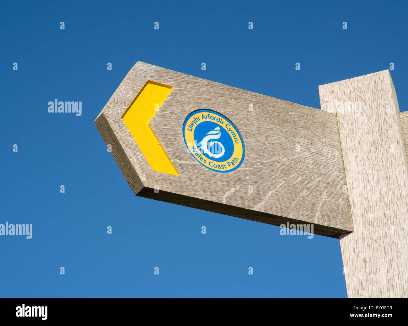 footpath sign for Wales Coast Path - Stock Image