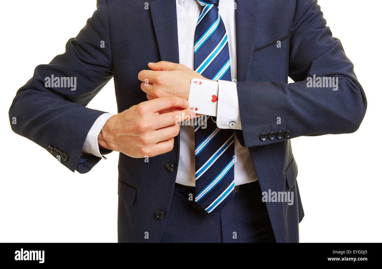 Tricky business manager pulling an ace out of his sleeve - Stock Image