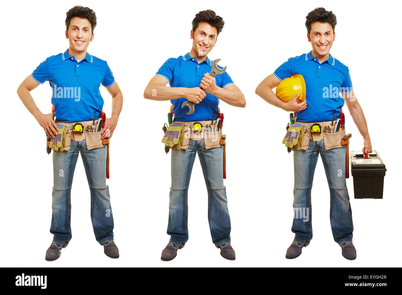 Full body shot of handyman or artisan in different versions isolated on white background - Stock Image