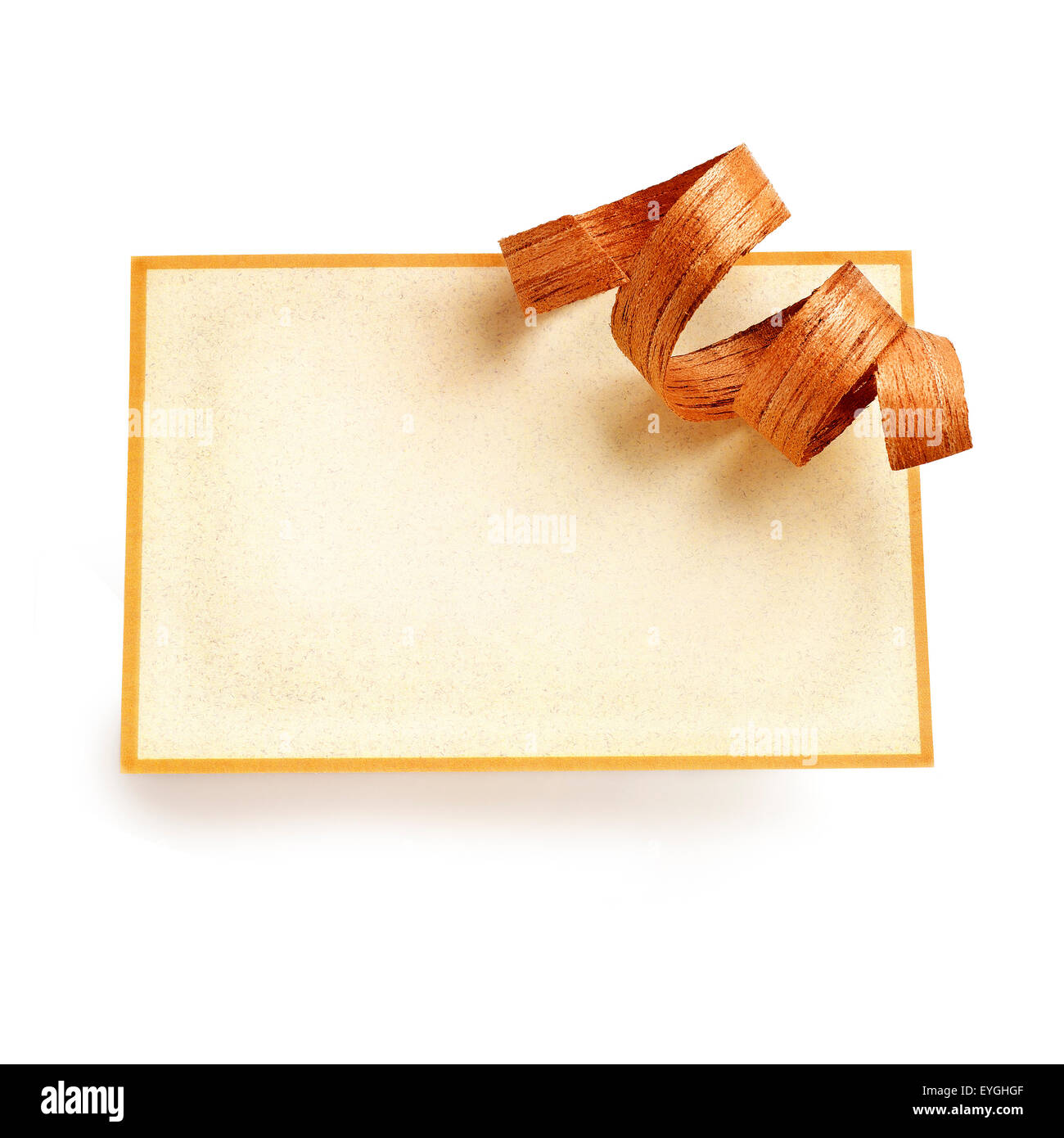 Greeting card with a wooden ribbon - Stock Image