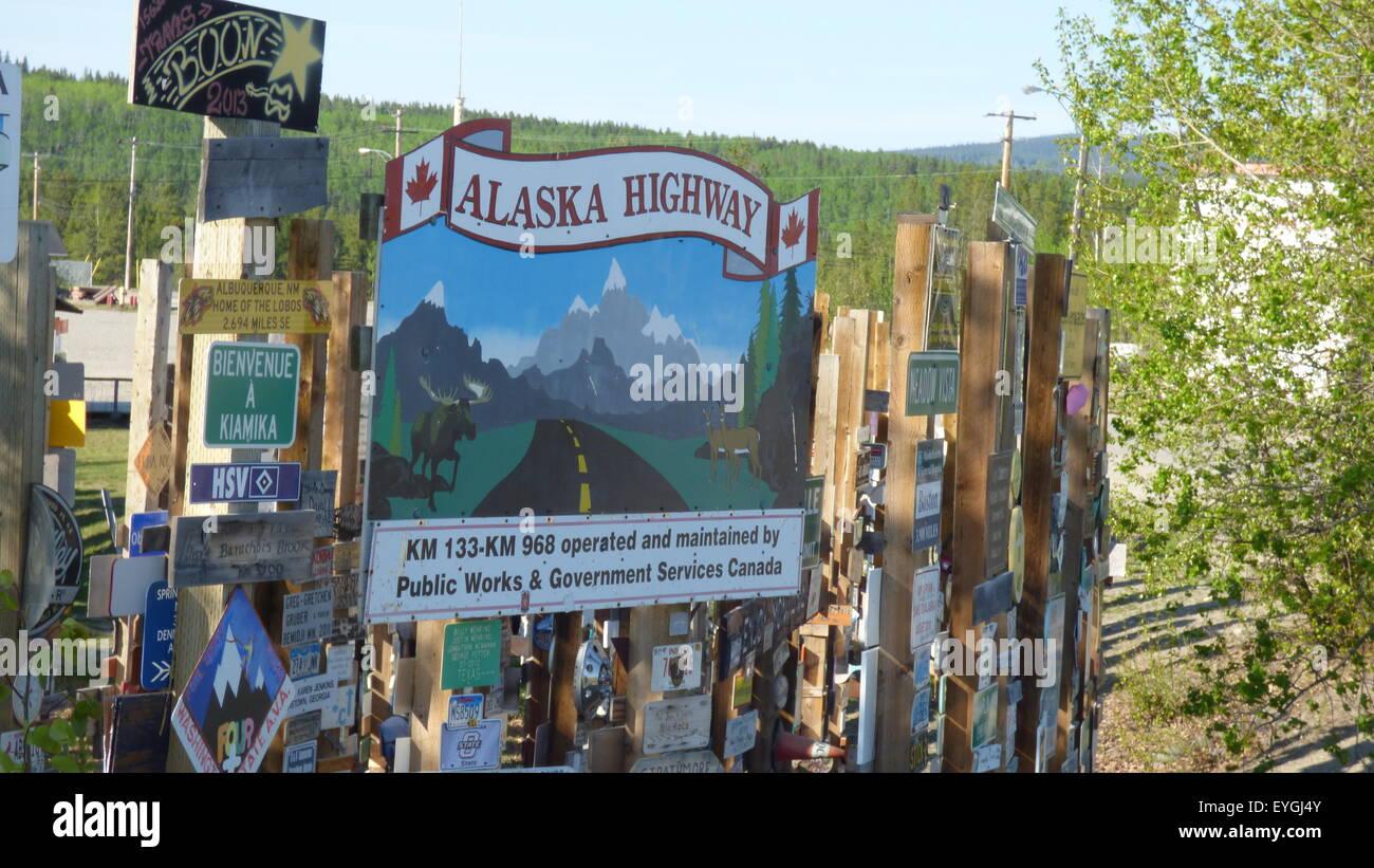 Alaska Higway Watson Lake, signpost city - Stock Image