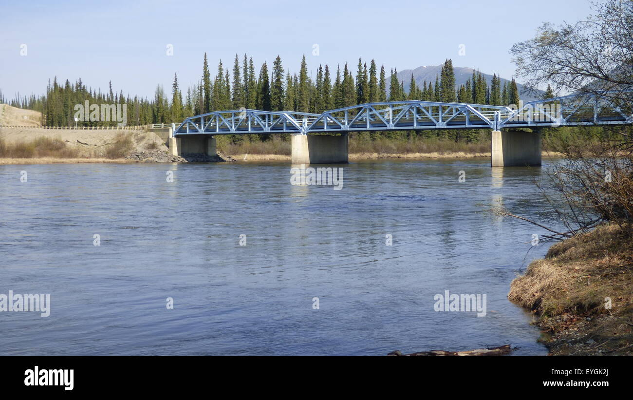 Bridge over Frances river in Yukon territory - Stock Image