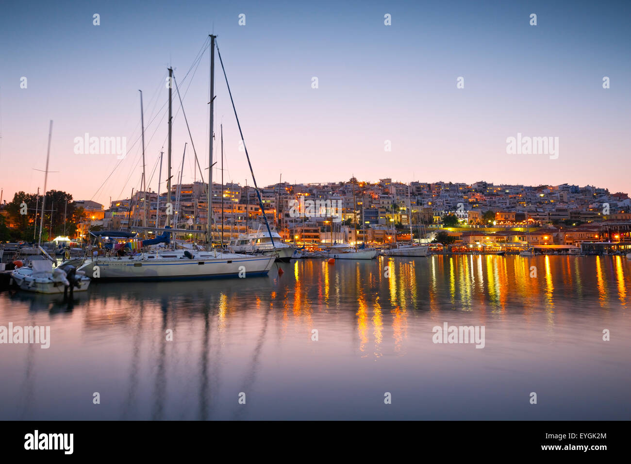 Sail boats at the yacht club in Mikrolimano marina in Athens, Greece - Stock Image