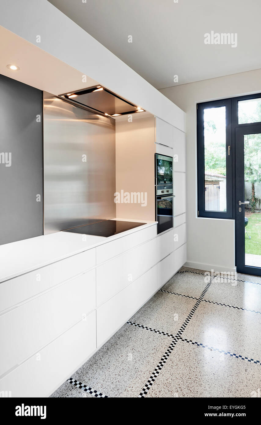 A stylish modern kitchen interior in perspective