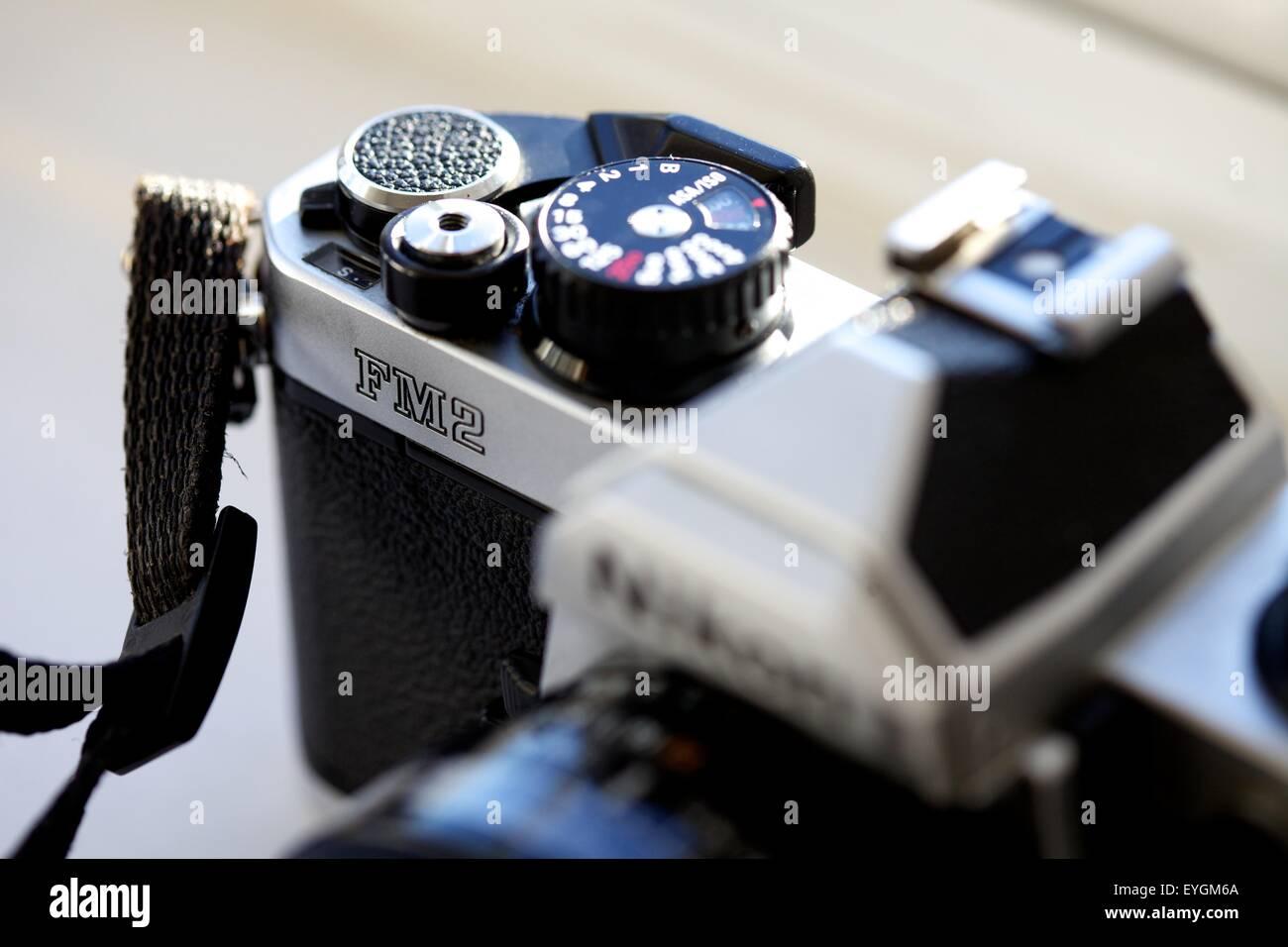 Nikon FM2 manual traditional SLR film camera and standard 50 mm lens - Stock Image
