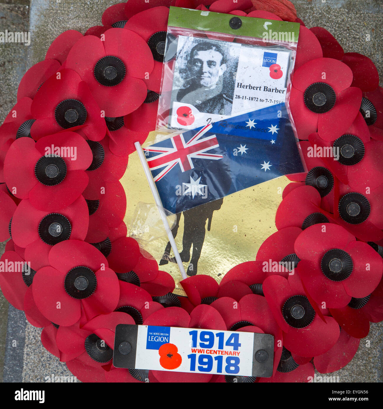British poppy wreath for First World War One soldier during remembrance of the WWI centenary - Stock Image