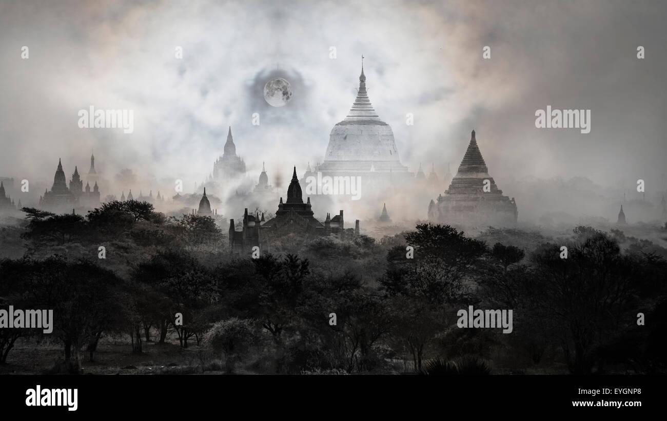 Night photos -Temples of Bagan with moon, Pagan, Mandalay, Myanmar. BURMA - Stock Image