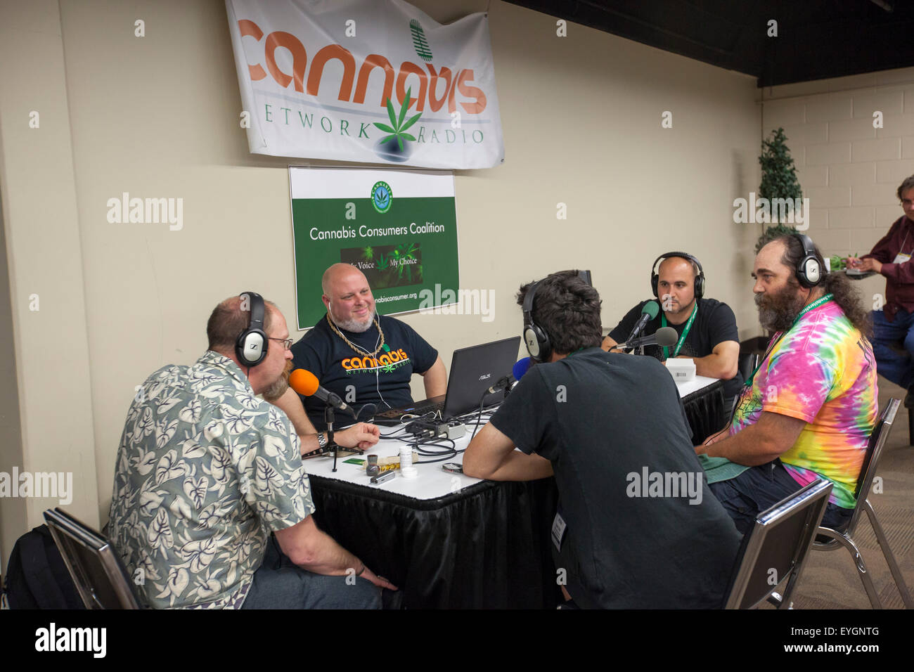 Denver, Colorado - The Cannabis Network Radio broadcasts from the INDO Expo, a marijuana trade show. - Stock Image