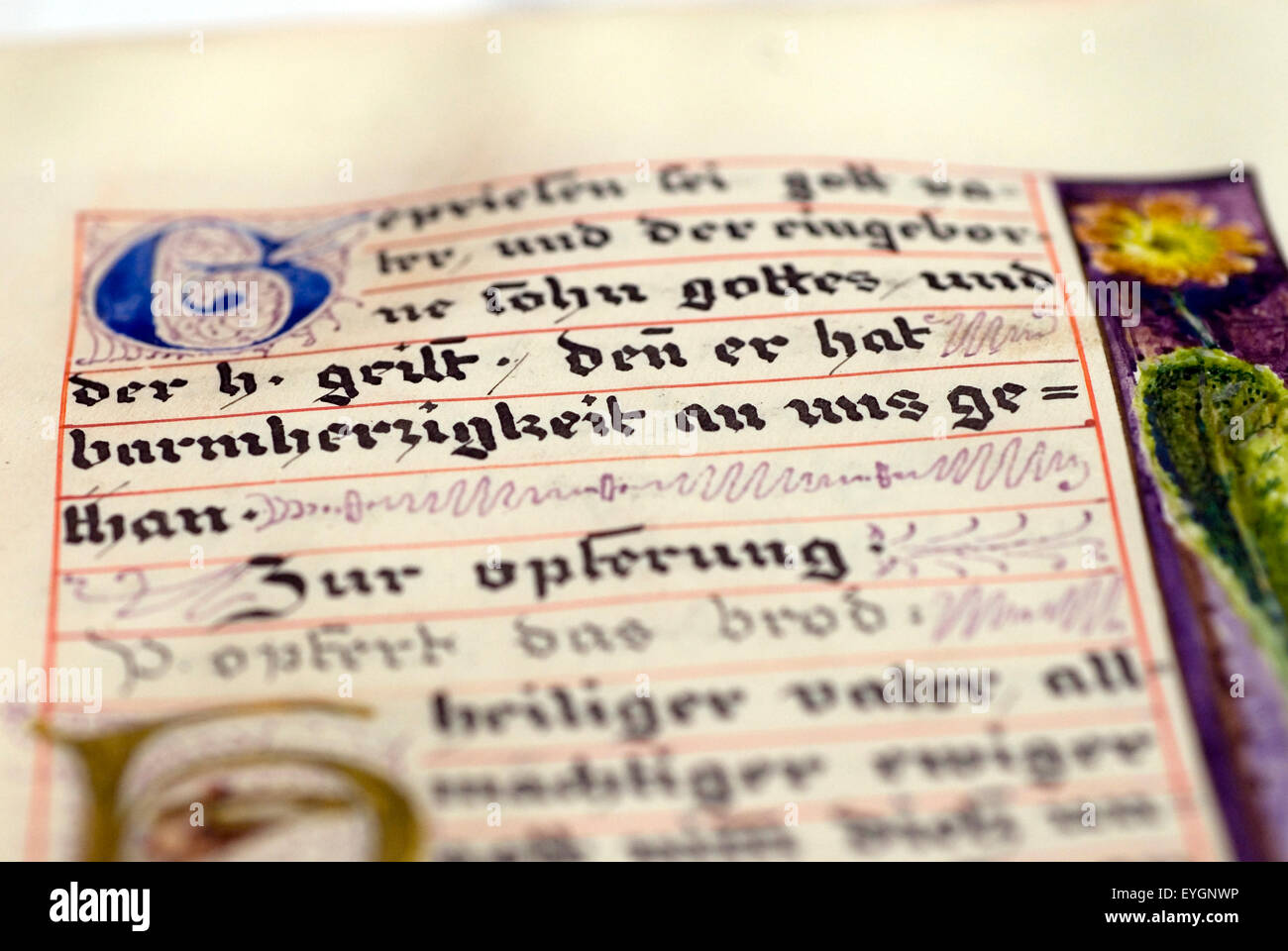 Historic, hand-written biblical script in a convent library, Germany,  Europe - Stock Image