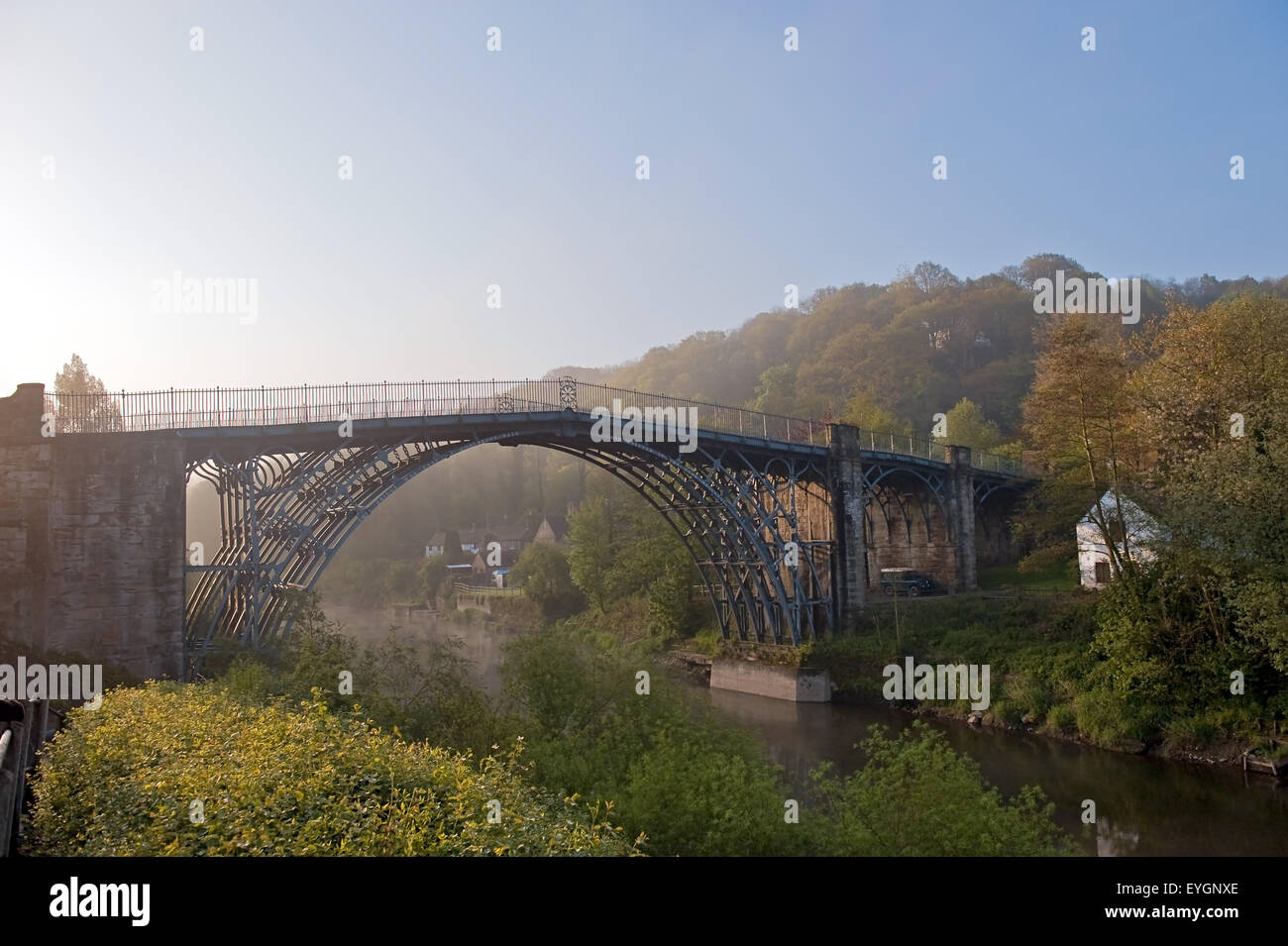 First iron bridge in the world was built by Abraham Darby III and crossed the River Severn at Ironbridge Shropshire - Stock Image