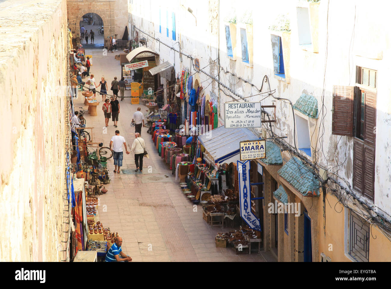 Shopping street along the inner fortified wall of the medina, Essaouira, Morocco, North Africa - Stock Image