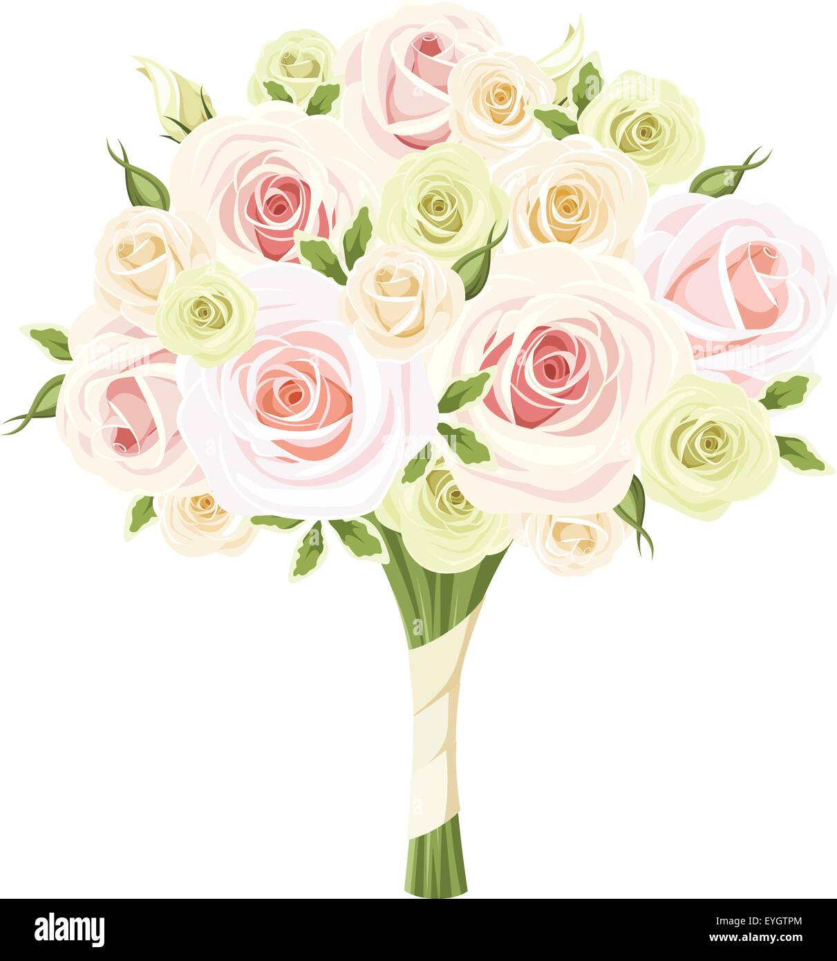 Wedding Bouquet Of Pink White And Green Roses Vector Illustration