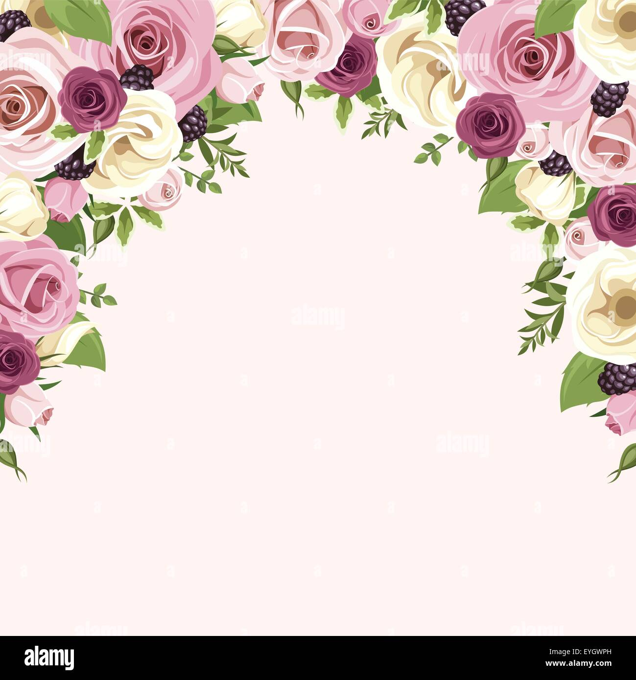 background with pink and white roses and lisianthus flowers vector stock vector art. Black Bedroom Furniture Sets. Home Design Ideas