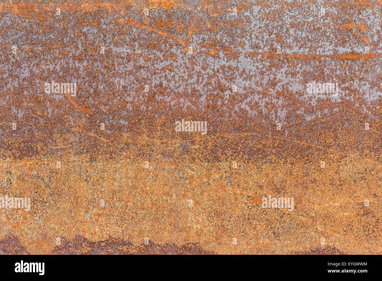 Old sheet metal plate full of rust - Stock Image