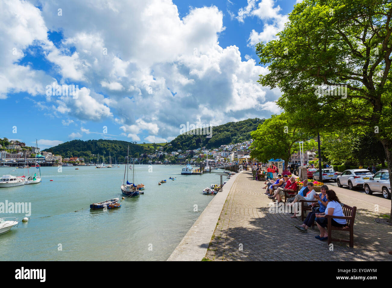 View along the North Embankment by the Dart River, Dartmouth, South Hams, Devon, England, UK - Stock Image