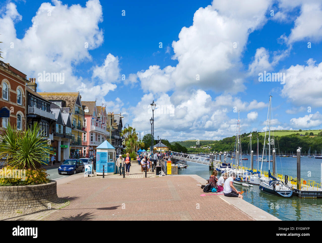 View along the South Embankment by the Dart River, Dartmouth, South Hams, Devon, England, UK - Stock Image