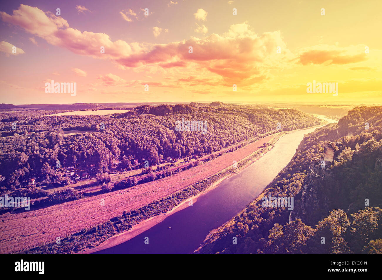 Vintage toned photo of Elbe river at sunset, Germany. - Stock Image
