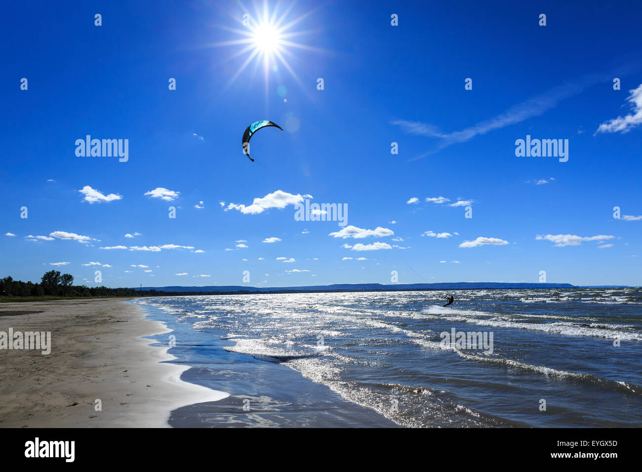 Kite surfing at Wasaga Beach, Lake Huron, Ontario, Canada - Stock Image