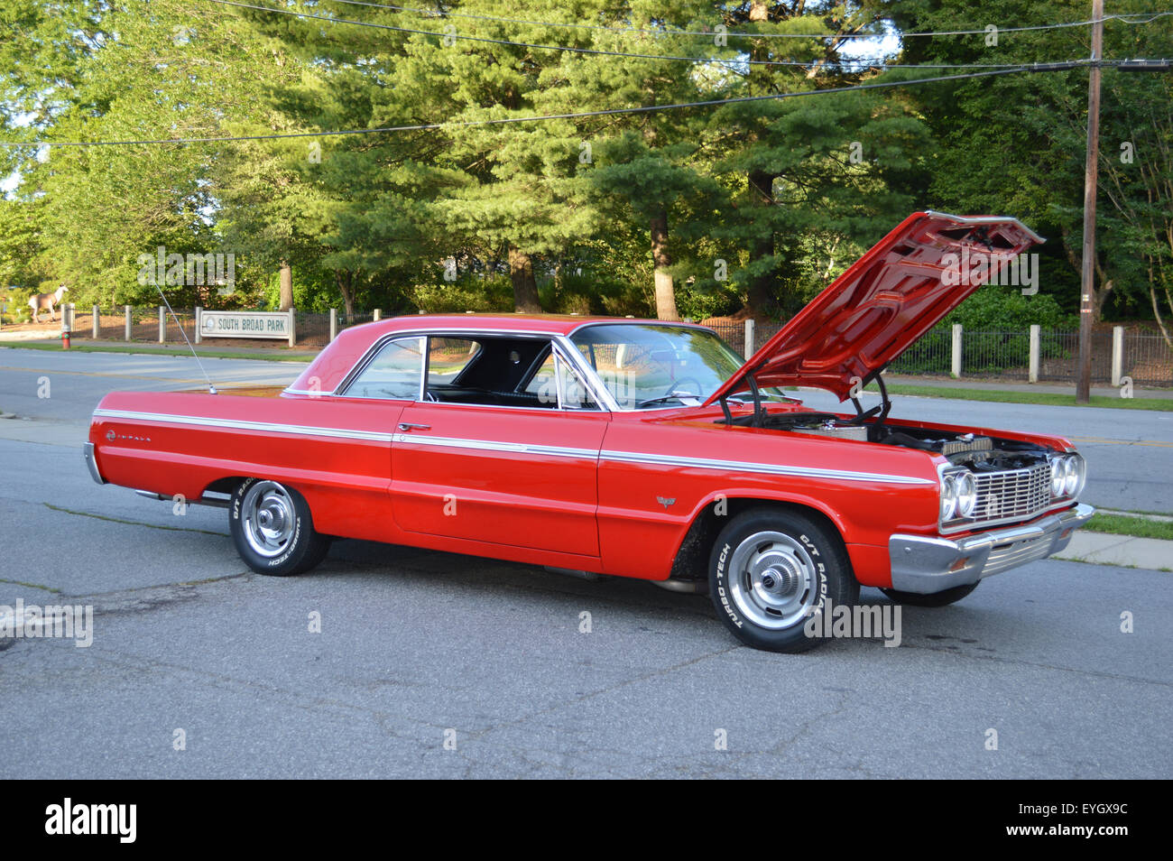 Red Antique Chevy Impala Stock Photos & Red Antique Chevy Impala ...