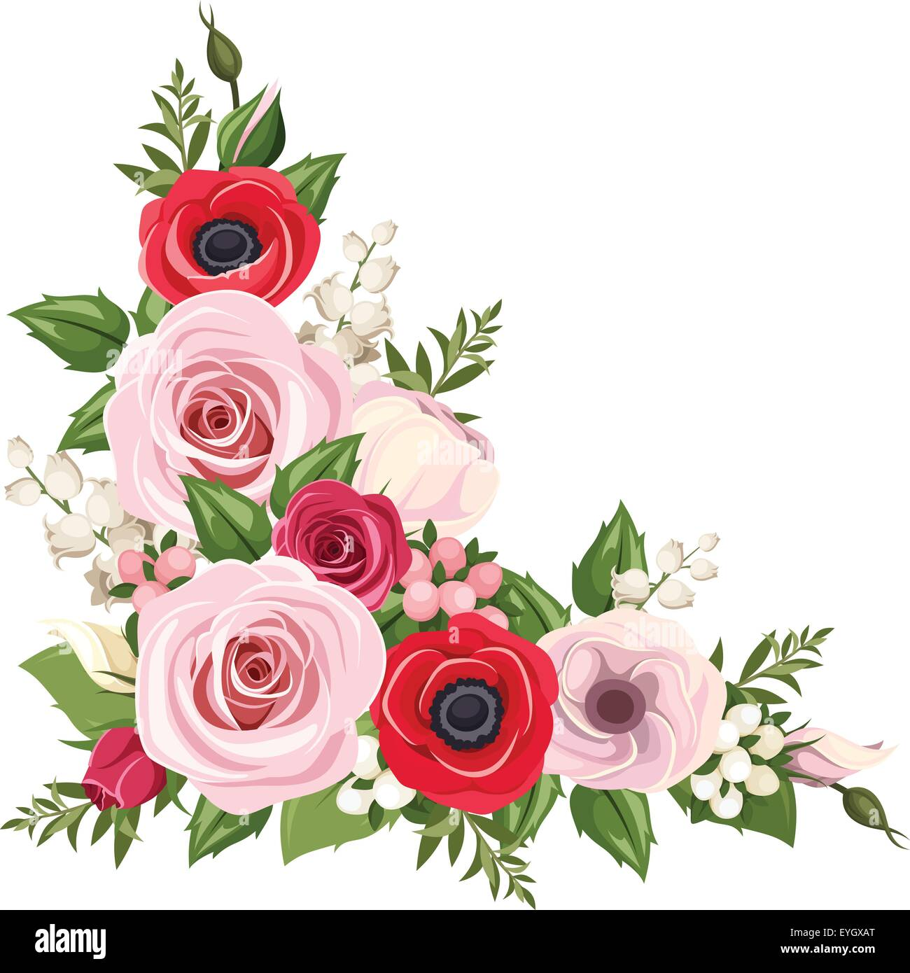 Red And Pink Roses Lisianthus And Anemone Flowers And Lily Of The