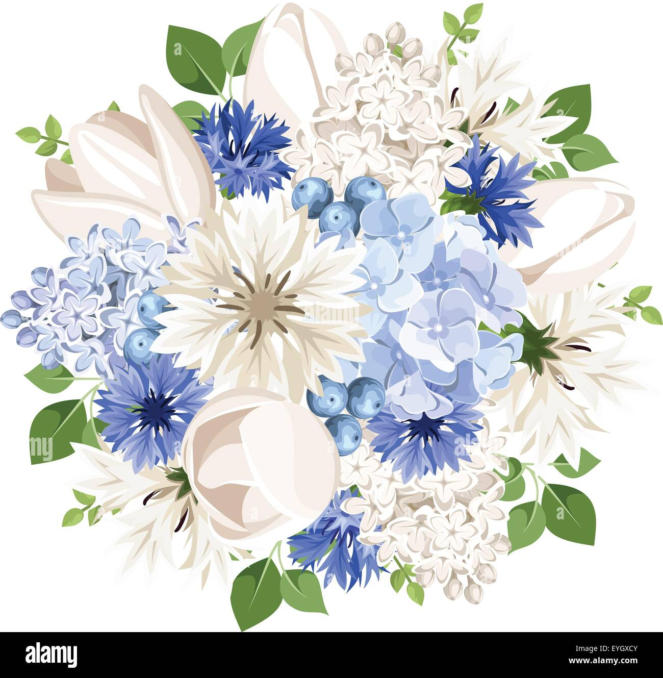 Bouquet Of White And Blue Flowers Vector Illustration Stock Vector